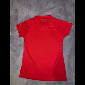 Women's red athletic shirt